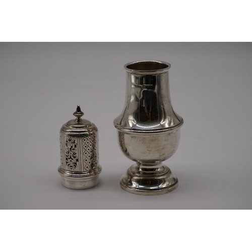 43 - <strong>A silver baluster caster, </strong>by <em>S Blanckensee & Son Ltd, </em>Chester 1933, 19...