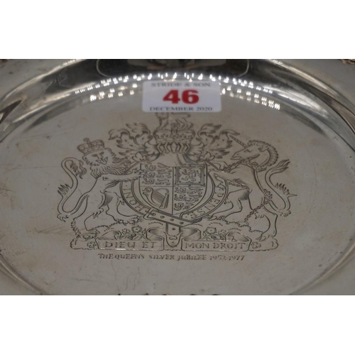 46 - <strong>A silver Queen Elizabeth II Silver Jubilee salver</strong>, by <em>Charles S Green & Co ...