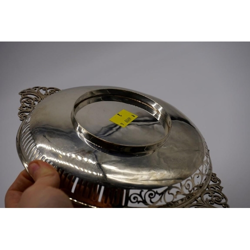 5 - <strong>An Edwardian pierced silver twin handled fruit bowl</strong>, by <em>Josiah Williams & C...