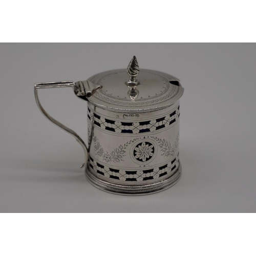 7 - <strong>An Edwardian pierced silver drum mustard,</strong> by <em>William Aitkin</em>, Chester 1901,...