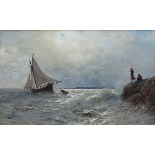 1270 - British School,19th century, fishing boat with figures on shore, indistinctly signed 'Wo...' and da...