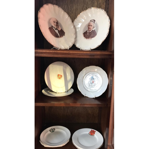 16A - Pair of commemorative plates depicting Mr & Mrs Gladstone and a large quantity of crested and souven...