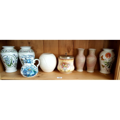 1 - Art deco period Spode china Velomour white glazed vase H6ins, Masons ironstone jug in the fruit bask...