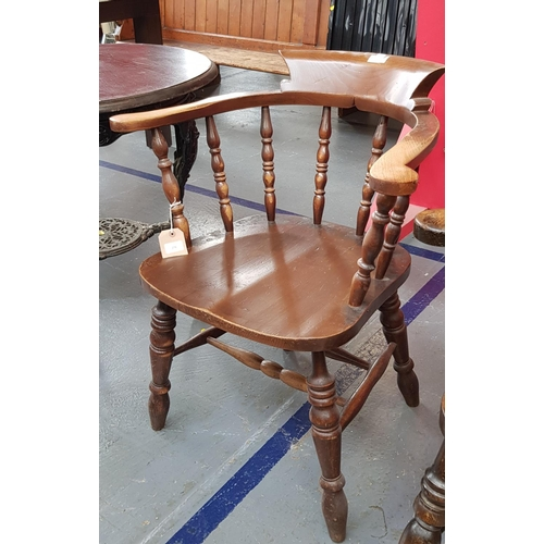 13 - 19th c style oak frame Captains/Windsor chair on turned legs and stretchers...