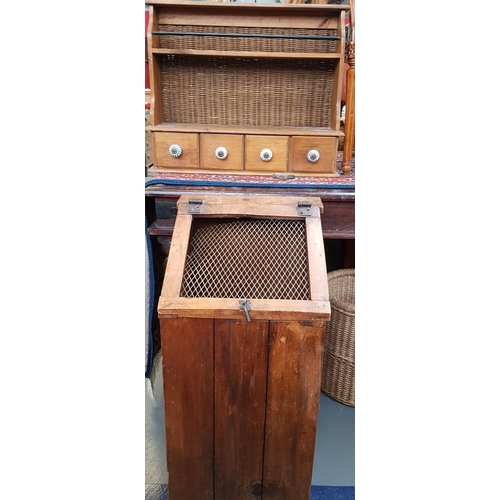 27 - Hardwood 19th C style storage chest with mesh cover H30'' W60'' D14'' plus pine wall hanging herb ra...