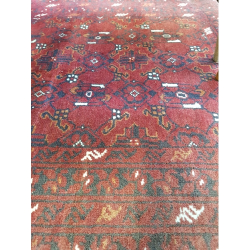 29 - Persian style red ground woven floor rug size 74'' x 40''...