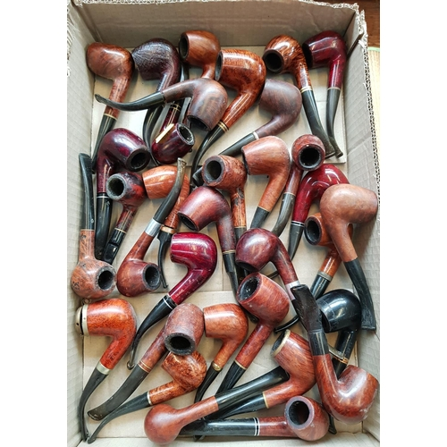45 - Large quantity of vintage smoking pipes most with metal collars over 30 items in lot...