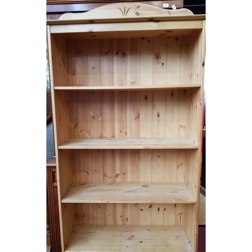 21 - 19th c style pine five tier book case with carved upstand 71