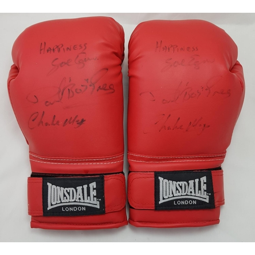 23 - Pair of Lonsdale London boxing gloves with signatures of Dave Boy Green and Charlie Magri...