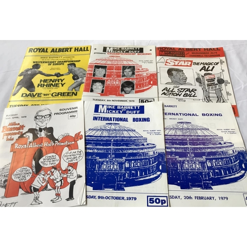 13 - Quantity of collectors Boxing programmes Royal Albert Hall venue, various bouts 1979, 6 items in the...
