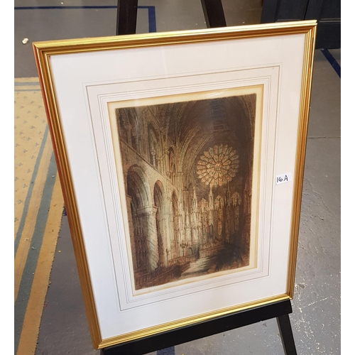 16a - F/G limited edition print Interior Durham Cathedral scene frame size 26ins x 20ins...