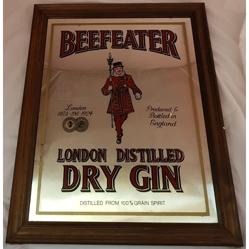 42 - Vintage wood framed drinks advertising mirror Beefeater London Distilled Dry Gin frame size 24'' x 2...