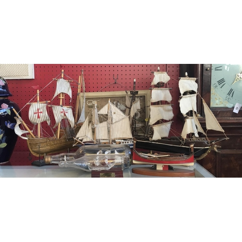46 - Wood ships model Spanish Frigate H14ins L18ins, three other wood models, two ship in a bottle figure...