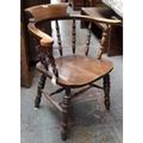 26 - 19th c style oak frame Captains/Windsor chair on turned legs and stretchers...
