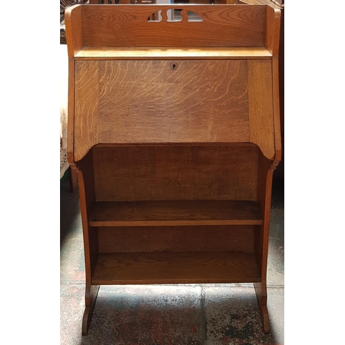 32 - Late 19th c arts and crafts honey oak bureau with integral pigeon holes and storage drawer plus open...