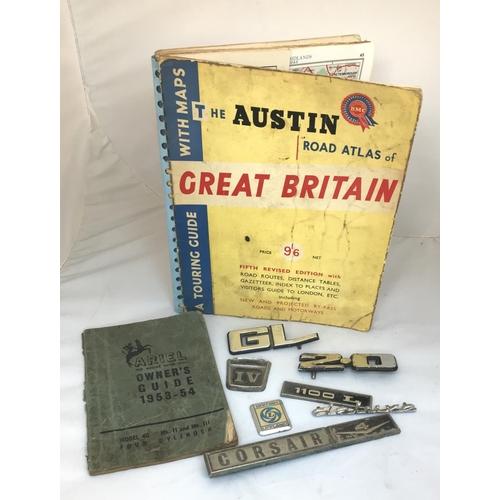 13 - Vintage 1953 Ariel motorcycle owners guide 1953-54 plus a quantity of car badges plus vintage Austin...