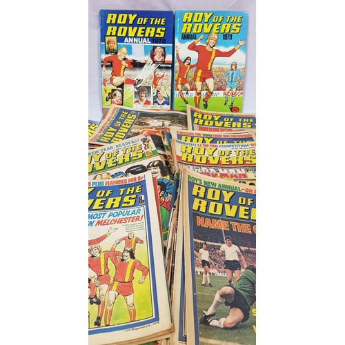 30 - Two Roy of the Rovers annuals 1978-79 plus over fifty Roy of the Rovers comics mainly 1970's period...