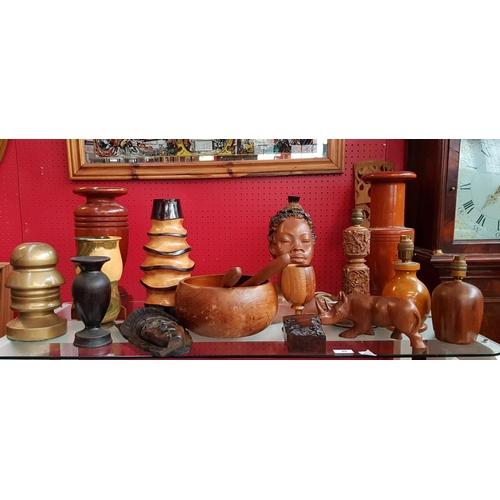 45 - Mid 20th C plaster tribal art figure of a maiden H13ins plus a quantity of collectors treen items va...