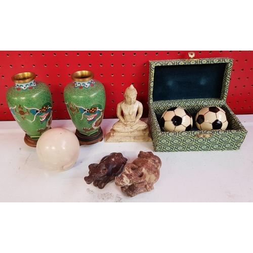 25a - Pair of Oriental Cloisonne vases 5ins H with dragon relief on wood stands plus pair of stress balls ...