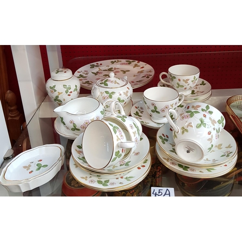 45a - Twenty four piece Wedgwood bone china teaset in the Wild Strawberry design...