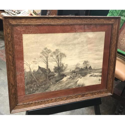 41 - Early 20th C oak f/g pencil drawing country farm scene with artist mark Van Cutsern c.1916, frame si...