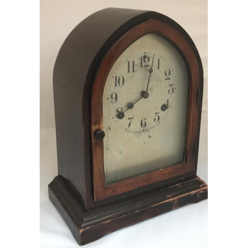 42 - Late 19th C mahogany dome case mantle clock, with metal dial, arabic numerals and makers mark Waterb...