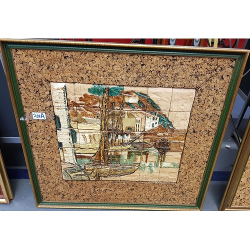 39A - Framed ceramic limited edition montage entitled Polperro signed by the artist Kathy Cutler frame siz...