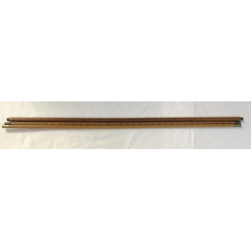 26 - Two early 20th C turned wood yard sticks with metal tips, and maker's mark J. Rabone and Sons, Birmi...