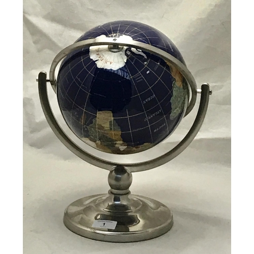 1 - Classic design Lapis style globe on white metal frame with splayed foot H14ins Diameter at base 8ins...