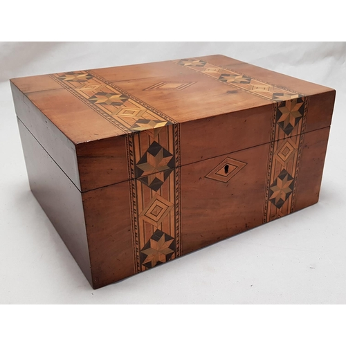 9 - Mid 19th C mahogany inlaid storage box with integral tray H6ins x L12ins x W9ins...