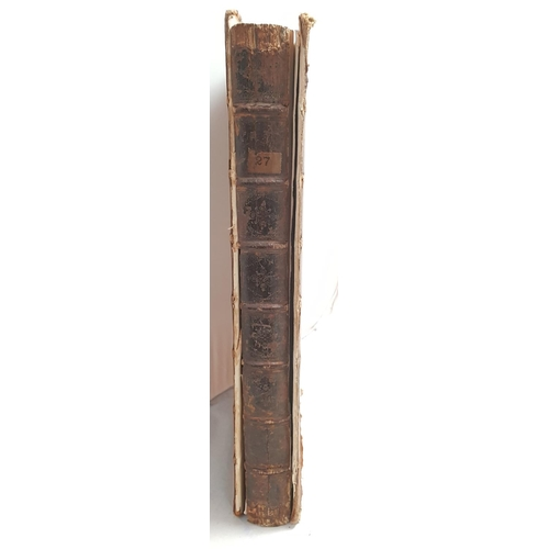 11 - Early 18th C leather bound edition of poems on several occasions with illustrations and list of subs...