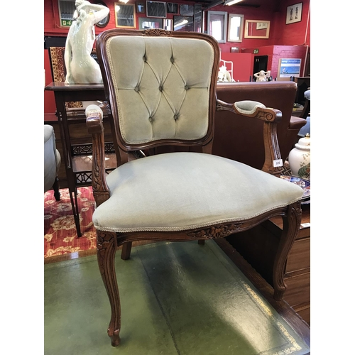 29 - Regency style mahogany frame carver/reading chair with green velvet upholstery to seat and back H34i...