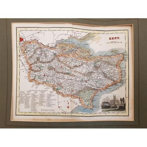 30 - Mounted genuine antique map depicting Kent c. 1835 plus quantity of later ordnance survey road maps ...