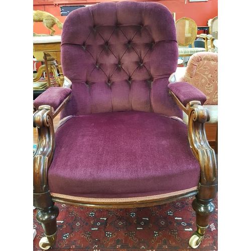 46 - 19th C mahogany frame reading/fireside chair with burgundy velvet upholstery on turned legs and porc...