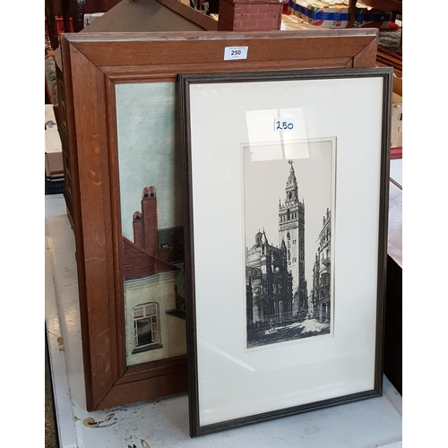 25 - Oak framed oil on canvas roof top cathedral scene 26ins x 21ins plus f/g etching cathedral signed by...