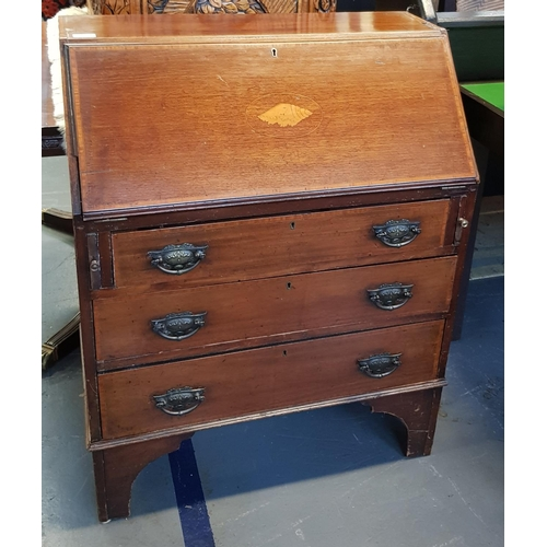 52 - Late 19th C inlaid mahogany bureau with integral drawers and pigeon holes, and three drawers below o...