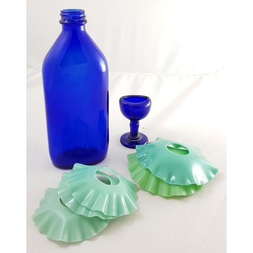 27 - Vintage Bristol blue glass medicine bottle and matching eye wash plus large quantity of crystal salt...