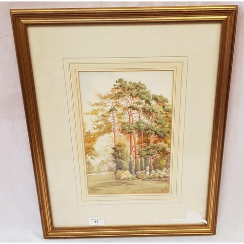 36A - Edwardian period f/g watercolour garden scene signed by the artist T Gundry c. 1911 frame size 21ns ...