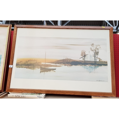 43 - Framed print still river scene with artist mark Spencer frame size 37ins x 26ins  plus two other pri...