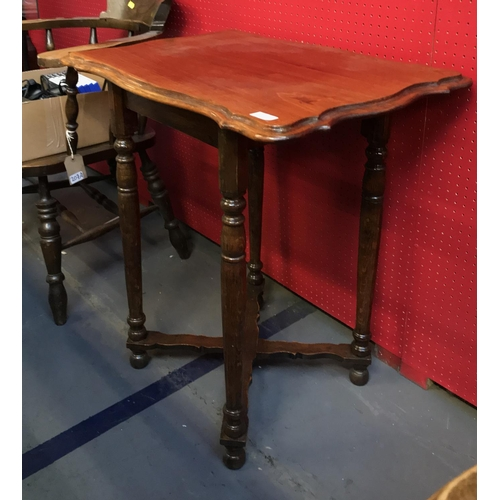 32 - Late 19th early 20 C oak scallop top side table on turned legs with cross stretcher H30ins W28ins D2...