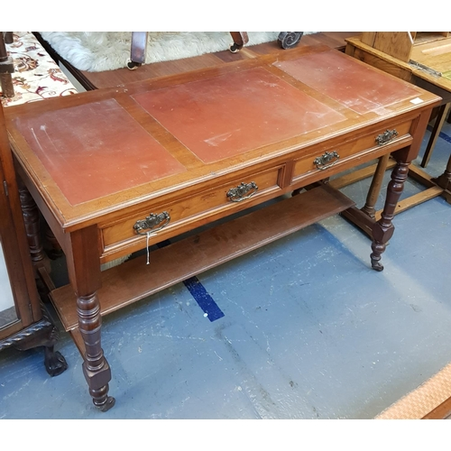17 - Late 19th C mahogany writing table with tooled leather effect panel top, two drawers below on turned...