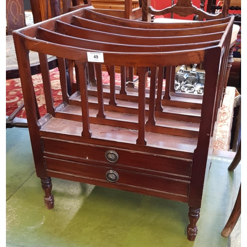 49 - Regency style mahogany Canterbury newspaper rack with two drawers below on turned legs H21ins W19ins...