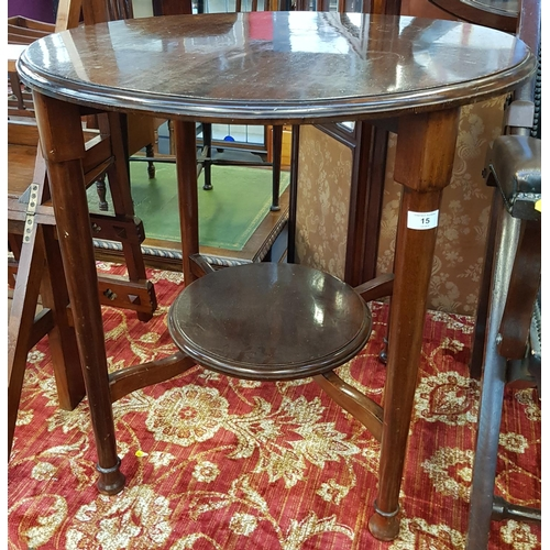 15 - Late 19th early 20th C mahogany circular two tier side table H29ins Diameter 29ins...