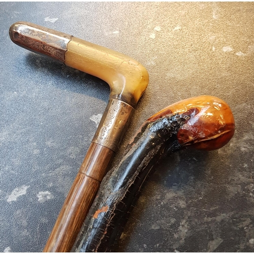 18 - Early 20th C bamboo effect walking cane with horn handle, silver collar and handle tip, L36ins plus ...