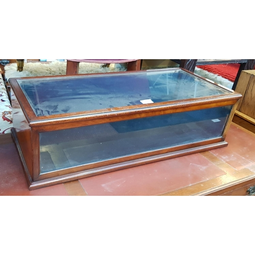 51 - Early 20th C mahogany frame glass table top display case with blue velvet interior H9ins W30ins D14i...