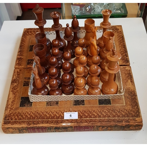 6 - Turned treen vintage chess set with early board storage box...