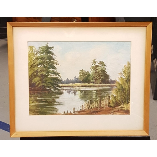 45 - F/g landscape pastel painting 'Rainbow Bridge in the mist' frame size 21ins x 17ins plus one other p...