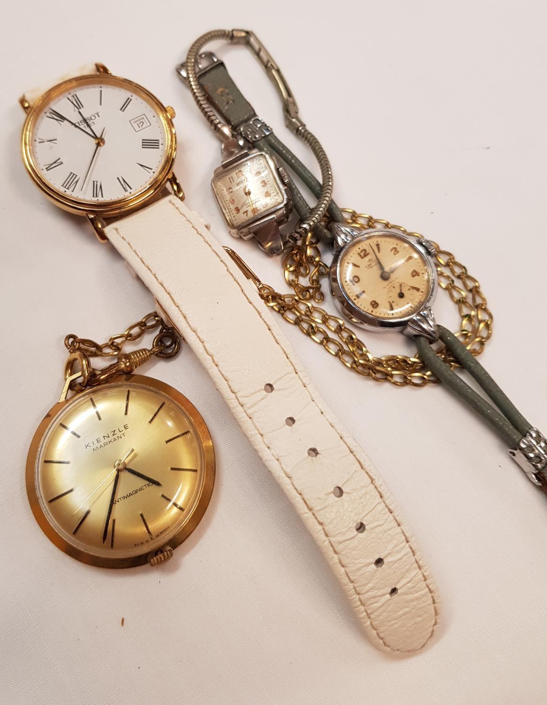 Vintage Kienzle Markant fob watch on chain plus three ladies