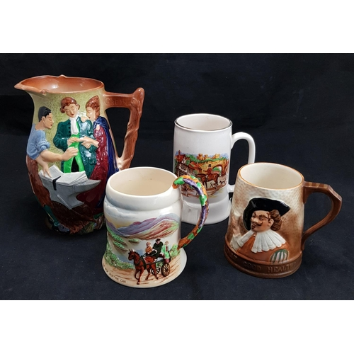 28 - 1930's Burleigh ware china jug depicting the runaway couple, being married by the Blacksmith of Gret...