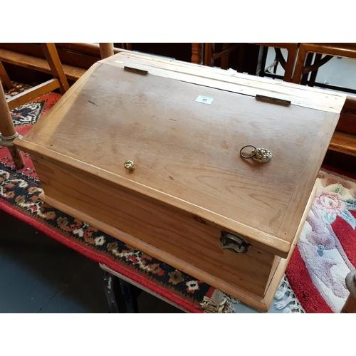 40 - 19th C pine clerks desktop with integral storage pigeon holes H12ins W26ins D17ins...